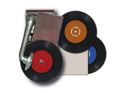Old record player with vinyl disc 写真素材