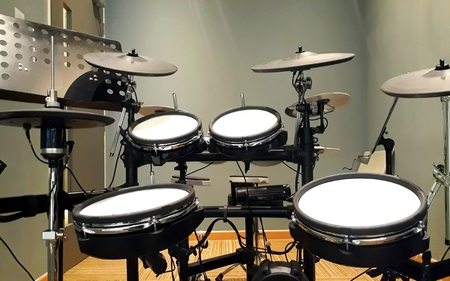 Electronic drums in a recording studio