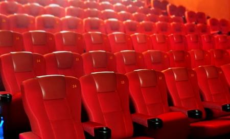 Row of red cinema seats 写真素材