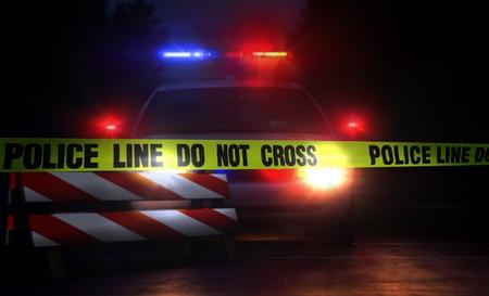 夜の警察のラインを越えないこと 写真素材