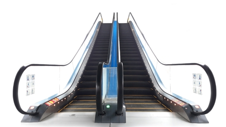 Escalator front view angle over white
