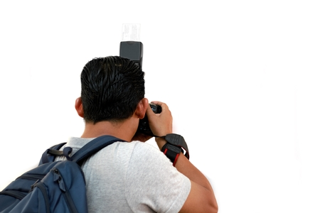 Cameraman shooting from back angle view