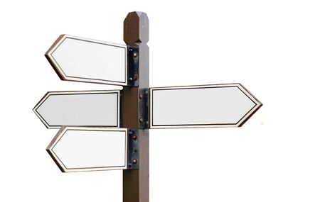 Directional sign post over white
