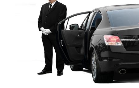 Chauffeur privé-serviceman die op passagier wacht Stockfoto