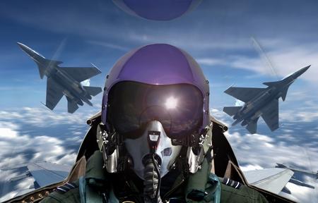 Cabina de piloto de combate vista durante el amanecer