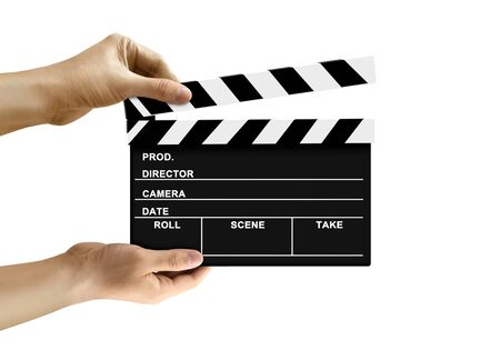 Hand holding clapperboard