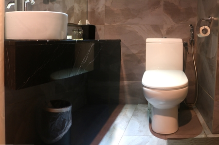 Bathroom interior with sink and toilet bowl 写真素材