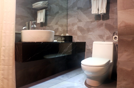 Bathroom interior with vanity mirror and toilet bowl