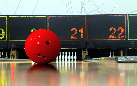Bowling ball on ten pin lane 写真素材