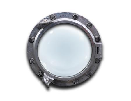Metal porthole over white background