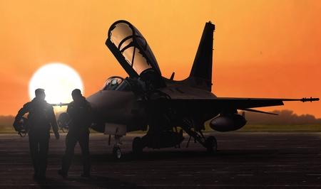 Les pilotes de chasse à réaction silhoutte au coucher du soleil au crépuscule sur l'aérodrome de la base militaire Banque d'images