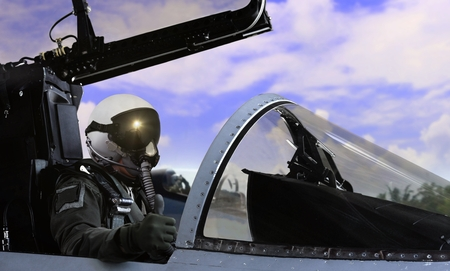 Fighter pilot getting ready to take off