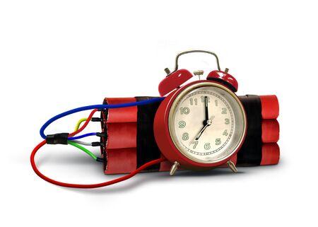Bomba de tiempo con paquete de dinamita roja y despertador