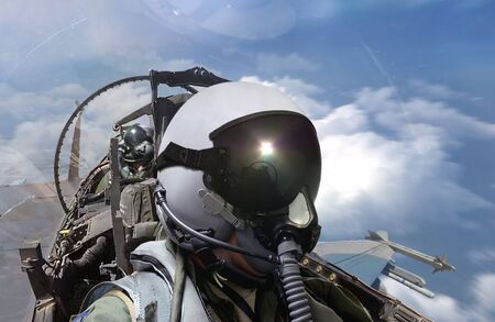 Fighter pilots cockpit view on routine flight