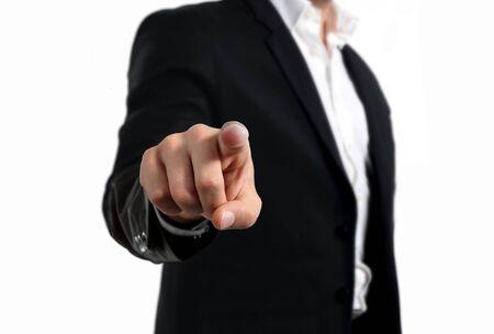 Uomo d'affari che indica il gesto del dito Archivio Fotografico