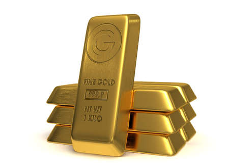 goldbars: Golden bars 3d rendered on white background
