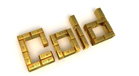 goldbars: Sign gold above golden bars 3D rendered