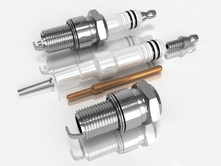 disassembly: Assembly and disassembly 3D rendered spark plugs