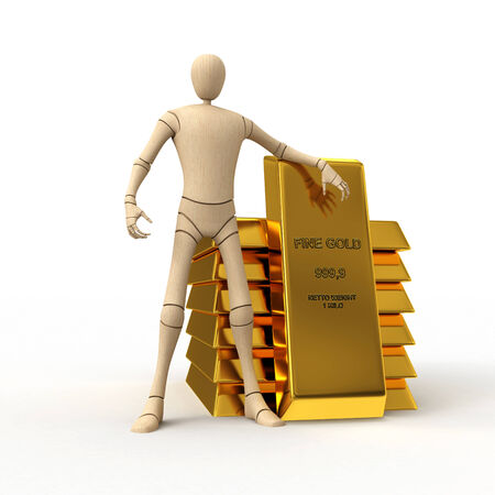 Abstract wooden man with golden bar stack 3D rendered isolated on white background photo