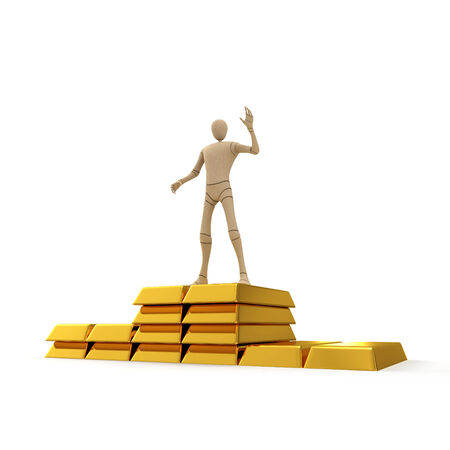 Abstract character on the top of golden bar stack 3d rendered isolated on white background photo