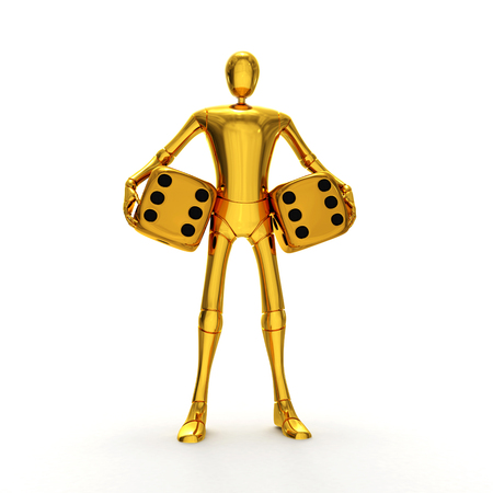 tossing: Abstract lucky golden character with golden dices 3d rendered isolated on white background