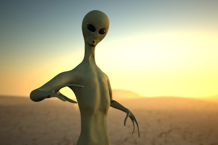 Alien on sunset background realistic 3d render 스톡 콘텐츠