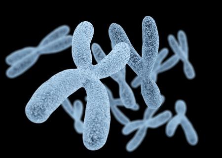 Veel man en vrouw chromosomen 3d teruggegeven op zwarte achtergrond met macro focus effect