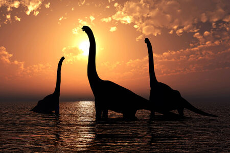 monstrous: Three brachiosaurus in a lake realistic 3d render