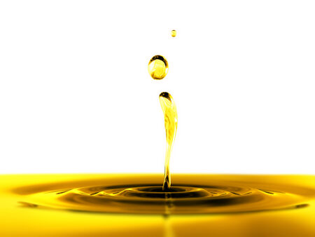 oil drop: 3d rendered oil drop and splash on white background with mscro focus effect