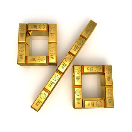 per cent: Gold bars in per cent symbol 3D rendered isolated on white Stock Photo