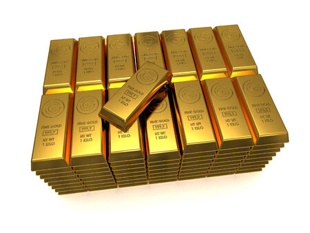 Stack of golden bars with one top 3D rendered isolated on white photo