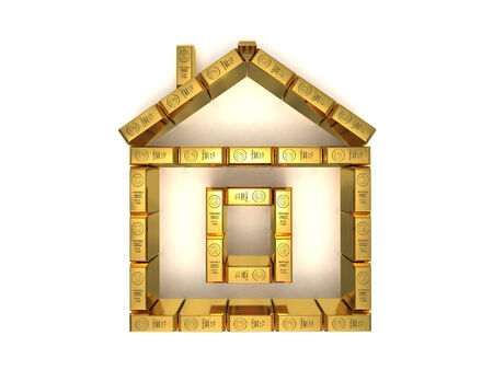 hypothec: Symbolic golden bars house 3D rendered isolated on white
