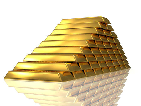 Golden bars pyramide 3D rendered isolated on white with reflection photo