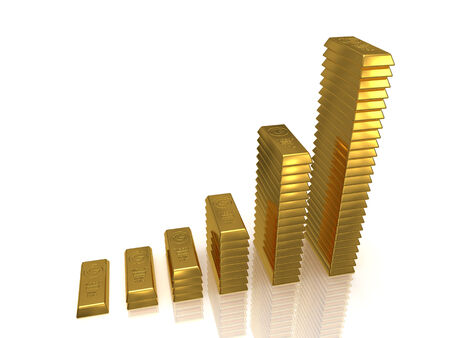 Growing golden bars 3D rendered isolated on white as profit concept photo