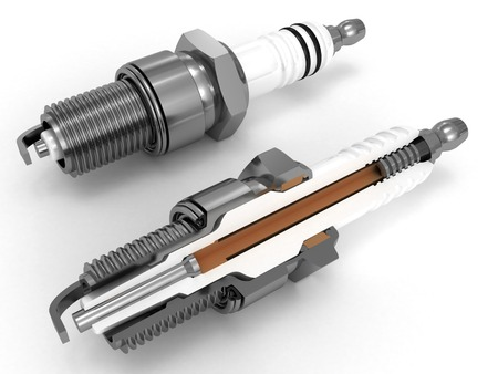 sparking plug: Assembly and sliced spark plugs 3D rendered isolated on white Stock Photo
