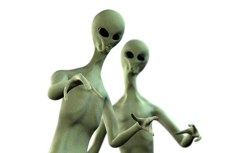 Two realistic aliens with different poses and focus effect 3D rendered on white background