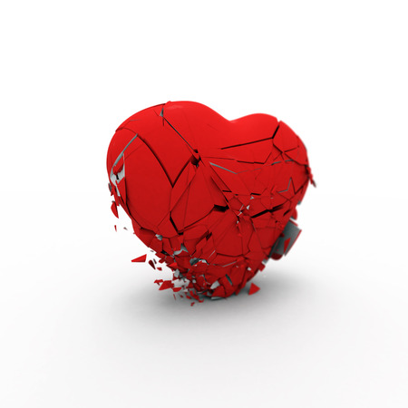 malady: Red symbolic heart collapses under its own weight on white background