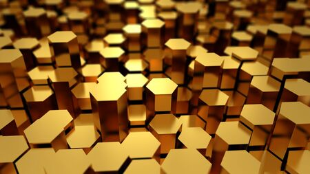 goldbars: Many golden metal hexagons abstract background with focus effect