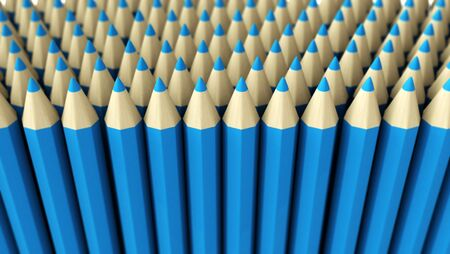 A lot of fake blue pencils 3d rendered on white background with focus effect