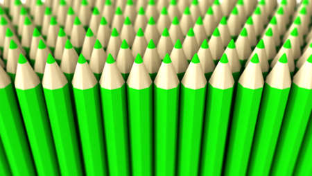 A lot of fake green pencils 3d rendered on white background with focus effect Stock Photo