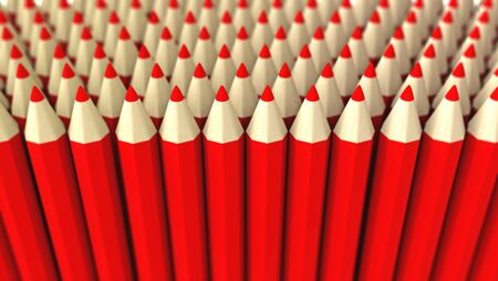 A lot of fake red pencils 3d rendered on white background with focus effect