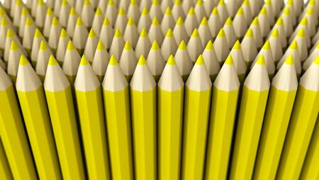 A lot of fake yellow pencils 3d rendered on white background with focus effect Stock Photo