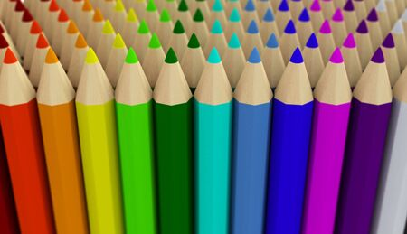 Many fake 3D rendered crayons arranged in several rows gradient with focus effect