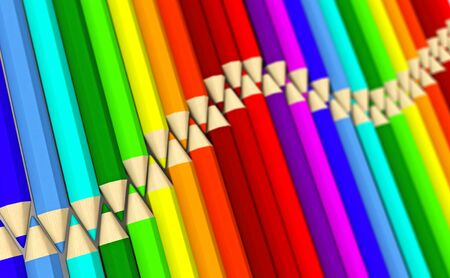 Many fake 3D rendered crayons forming a spectrum of two colored waves isolated on white background