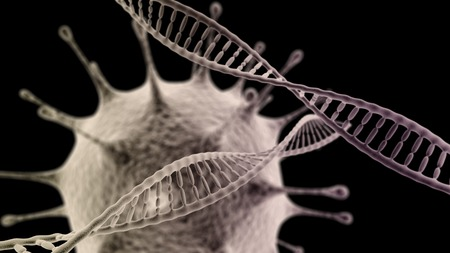 ovule: CGI visualization of the DNA chain with virus (electronic microscope simulation) with focus effect (dark version) Stock Photo