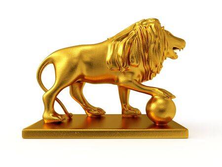 3d lion: Golden statue of a lion 3D rendered isolated on white background (right view)