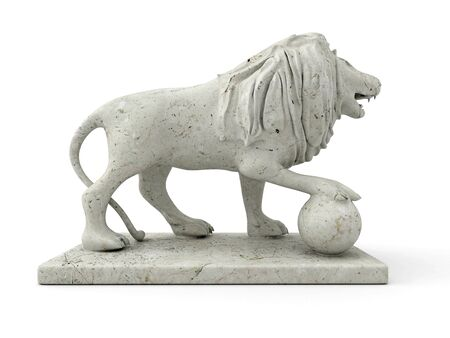 3d lion: Marble statue of a lion 3D rendered isolated on white background (right view) Stock Photo