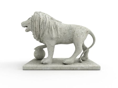 3d lion: Marble statue of a lion 3D rendered isolated on white background (left view) Stock Photo