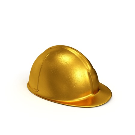 casque: Golden constructing safety casque 3D rendered isolated on white background Stock Photo