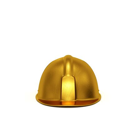 casque: Golden constructing safety casque 3D rendered isolated on white background (front view) Stock Photo